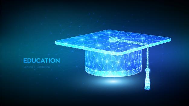 Абстрактный низкий полигональный выпускной колпачок. студенческая шапка. концепция электронного обучения. сертификат программы дистанционного обучения.