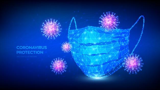 抽象的な低多角形保護医療フェイスマスクとウイルス細胞。コロナウイルス2019-ncovの発生。感染はなく、covid-19のパンデミックの概念を阻止します。