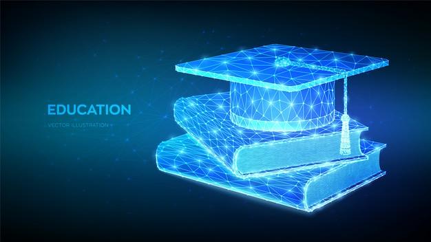 抽象的な低多角形学生卒業キャップと本。 eラーニングの概念。革新的なオンライン教育。距離卒業証明書プログラム。