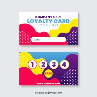 Abstract loyalty card template with colorful style