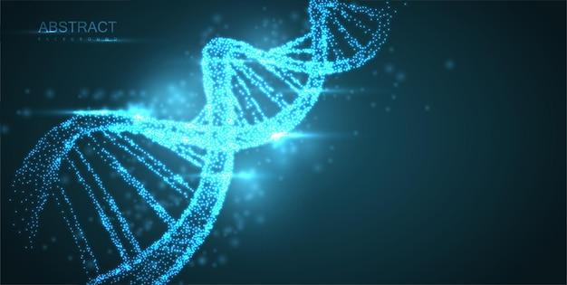 녹색 배경에 추상 빛나는 dna 분자 네온 나선