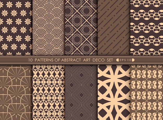 Abstract of luxary art deco pattern set background.