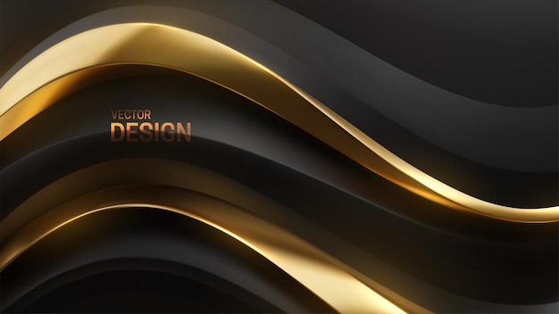 Abstract luxurious background with black and golden wavy shapes