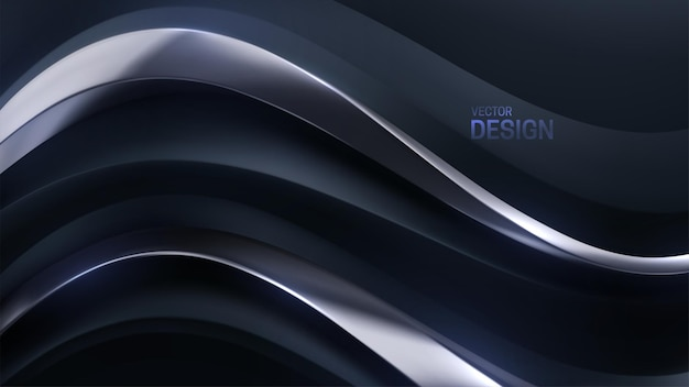 Abstract luxurious background with black and silver wavy shape