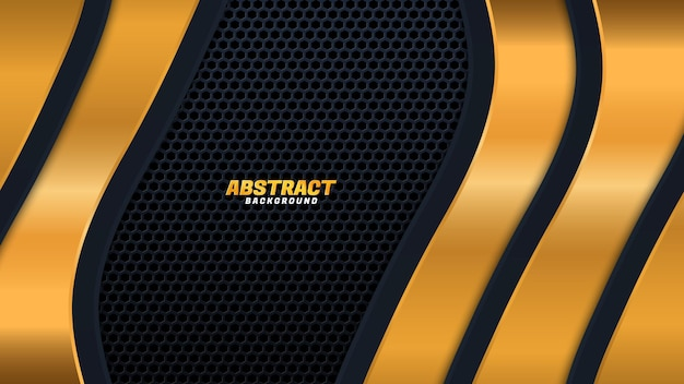Abstract luxurious black gold background. modern dark banner template vector with geometric shape patterns . futuristic digital graphic design