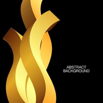 Абстрактный роскошный фон золотые формы черный фон геометрический дизайн обложки, золотая волна.