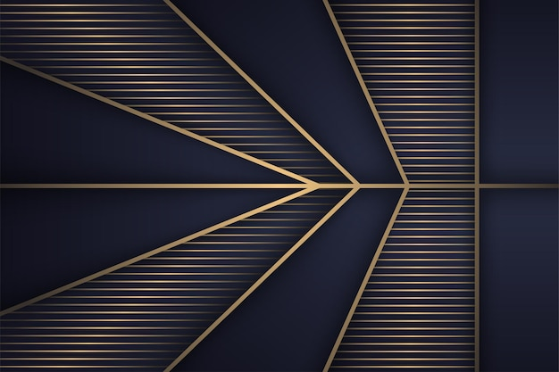 Abstract luxury background template design use gold and blue gradient colors polygonal shape arrow