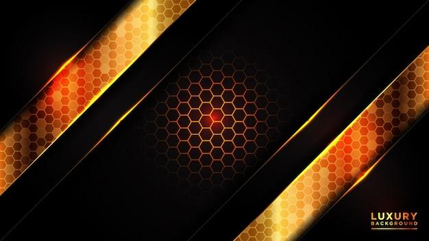 Абстрактная роскошная предпосылка с картиной золота шестиугольной. с темным фоном перекрывающихся слоев