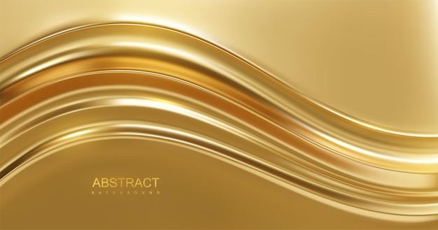 Abstract luxury background with golden wavy surface