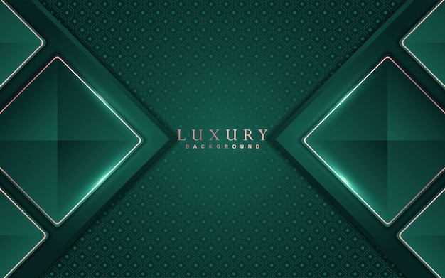 Abstract luxury background with green and rose gold element decoration