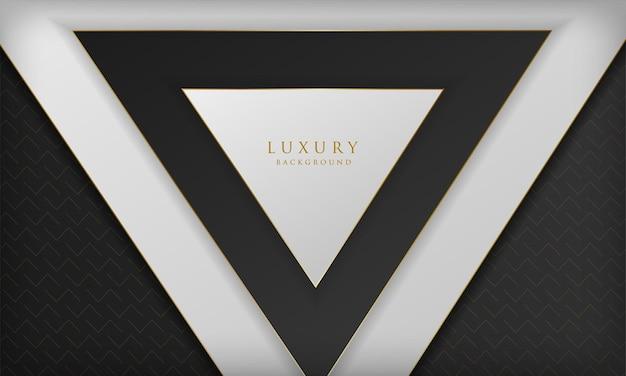 三角形の形と金色の線の要素を持つ抽象的な豪華な黒と白の背景
