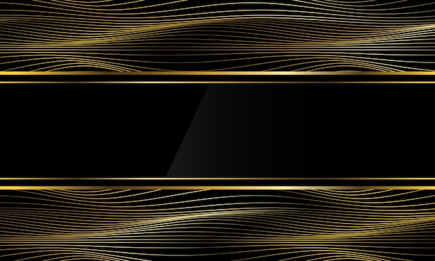 抽象的な豪華な黒のバナーゴールド細い線波曲線背景壁紙ベクトルイラスト。