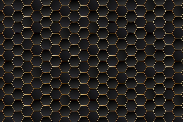 Abstract luxury black and gold hexagons background