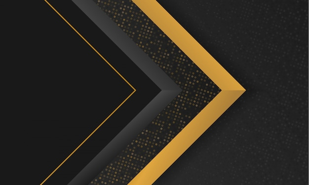 Abstract luxury black and gold modern geometric shape background