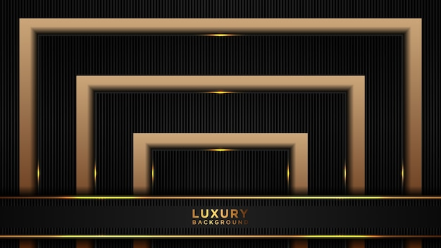 Abstract luxury black and gold polygonal background. dark overlap layered modern background.