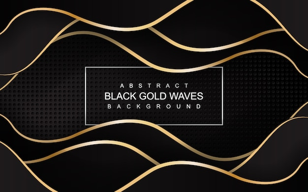 Abstract luxury black gold wave background illustration
