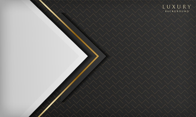 Abstract luxury black and white background with triangular shape and golden line elements