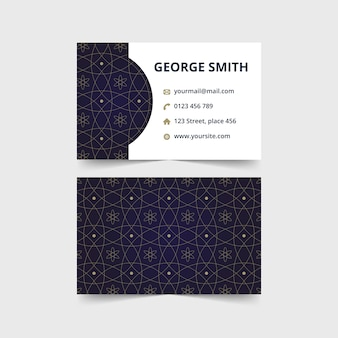 Abstract luxury business card with navy batik pattern