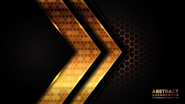 Абстрактный роскошный темный фон. темно-серая накладка с шестигранной сеткой треугольник золотой дизайн линии