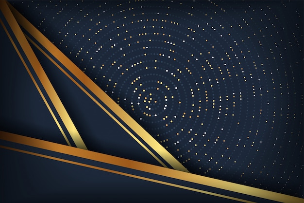 Abstract luxury dark background with a combination glowing golden dots.