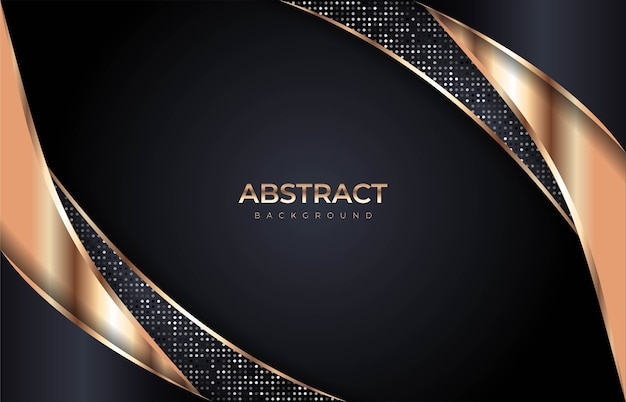 金色の線とオーバーラップモダンな組み合わせで抽象的な豪華な暗い背景。プレミアムベクトル