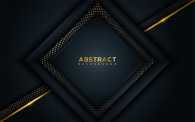 Abstract luxury dark background with golden lines and circular glowing golden dots combinations.