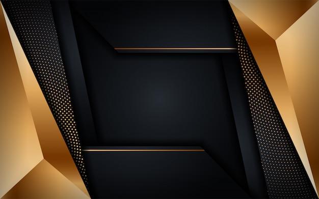 金色の線の組み合わせで抽象的な豪華な暗い背景。現代の未来的な背景