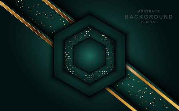 Abstract luxury dark background with golden lines and glitters.