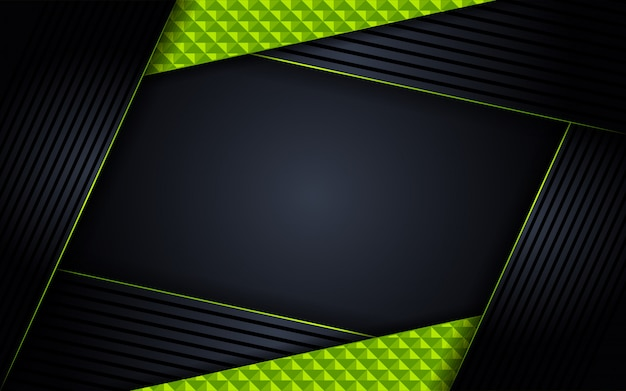 Abstract luxury dark background with green lines combinations