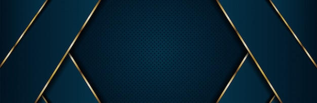 Abstract luxury dark blue background with golden line