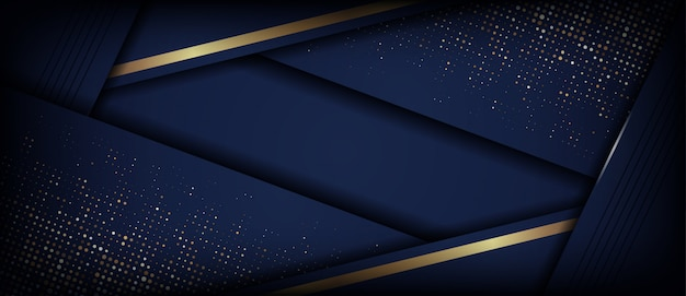 Abstract luxury dark blue with golden overlap layer