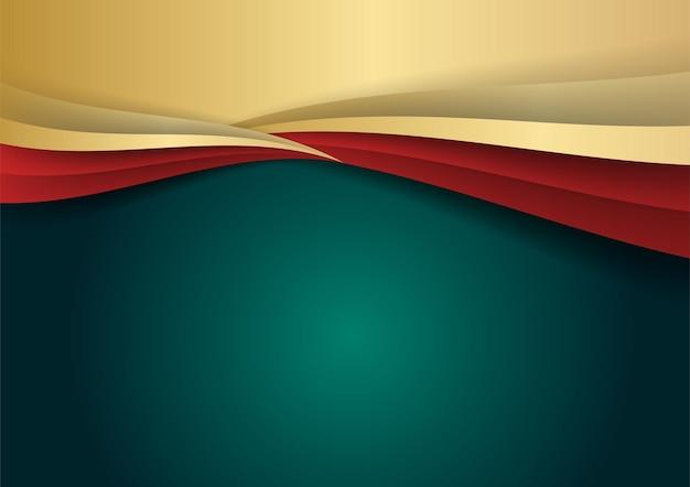 금색과 빨간색 모양 장식 요소가 있는 추상 럭셔리 짙은 녹색 겹침 레이어. 프리젠테이션 배경, 배너, 웹 방문 페이지, ui, 모바일 앱, 편집 디자인, 전단지, 배너에 적합