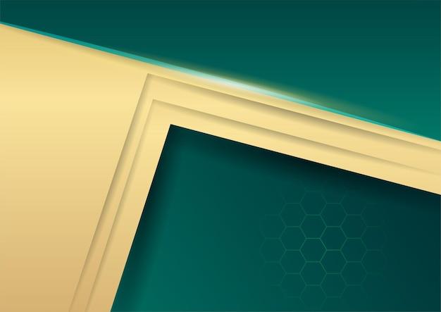 金色のラインと抽象的な豪華なダークグリーンのオーバーラップレイヤー
