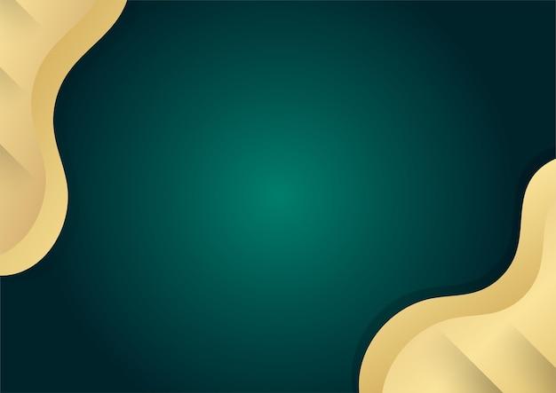 Абстрактный роскошный темно-зеленый перекрывающийся слой с элементами декора золотых форм. подходит для фона презентации, баннера, целевой веб-страницы, пользовательского интерфейса, мобильного приложения, редакционного дизайна, флаера, баннера