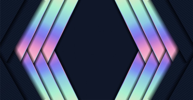 Abstract luxury dark overlap background with gradient neon geometric shape
