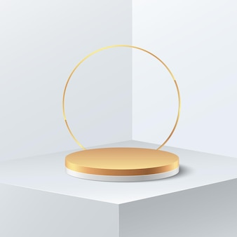 抽象的な贅沢。コピースペース付きの空の金色のシリンダー表彰台の白いディスプレイ。最小限のショールーム撮影の3dレンダリング。