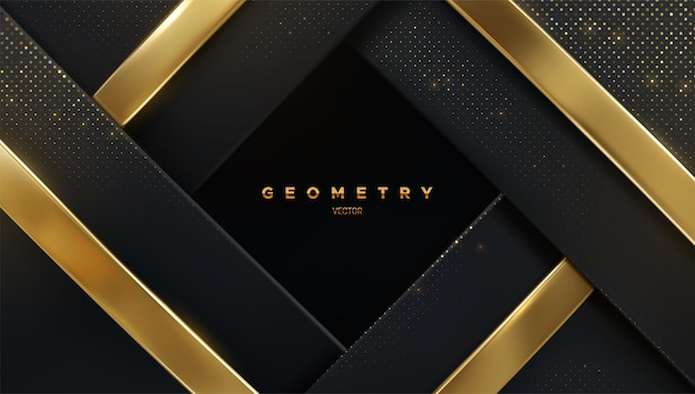 Abstract luxury geometric background of black layers with shiny glitters and golden ribbons