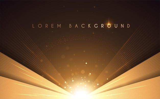 光の効果を持つ抽象的な豪華なゴールドの背景