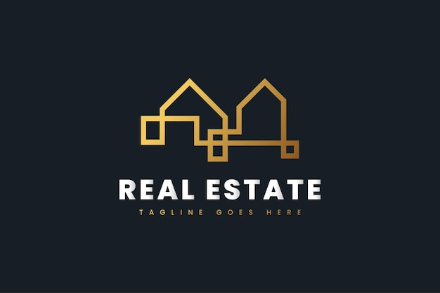 Abstract luxury gold real estate logo design template. construction, architecture or building logo design template