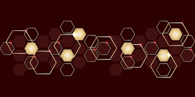 Abstract luxury gold and red hexagons background. modern hi-tech background for digital technology.