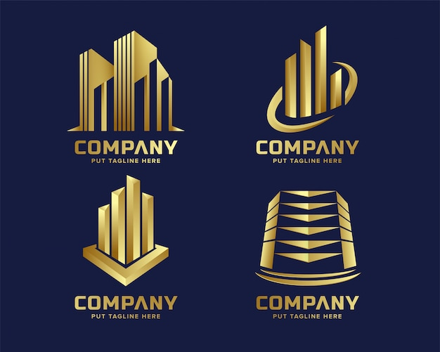 Abstract luxury golden building tower logo template