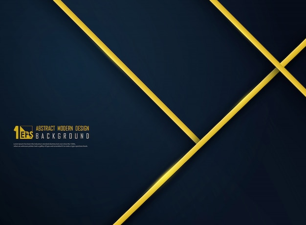 Abstract luxury golden line on gradient classic blue template background