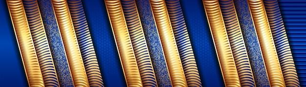 Абстрактная роскошная золотая линия с голубым шаблоном, украшающим фон