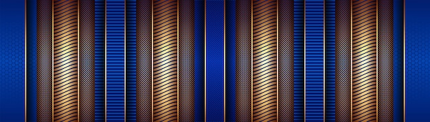 Abstract luxury golden line with light blue template decorating background Premium Vector