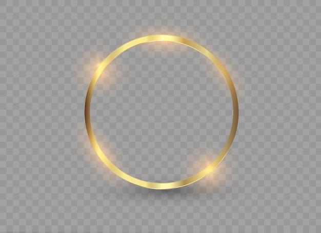 Абстрактное роскошное золотое кольцо. световые круги и искровой эффект света.