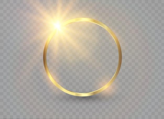 抽象的な高級ゴールデンリング。光の輪と火花の光の効果。