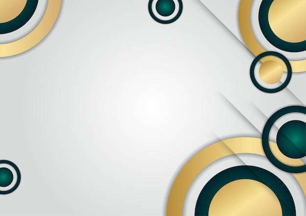 金色の形をした抽象的な豪華な緑の円の重なり層。豪華でエレガントな背景。抽象的なテンプレートデザイン。プレゼンテーション、バナー、表紙、名刺のデザイン
