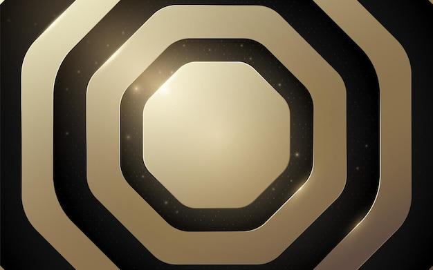 검은색 바탕에 추상 럭셔리 육각형 선과 금색 반짝이는 빛. 벡터 일러스트 레이 션