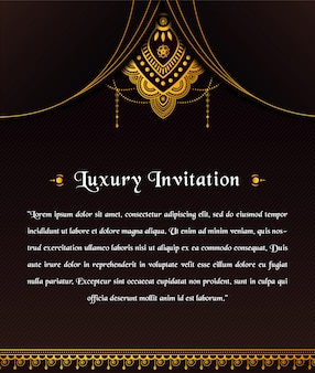 Abstract luxury invitation template with ornamental mandala design