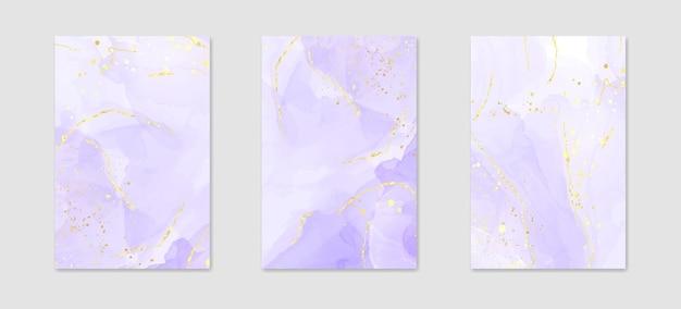 황금 균열과 추상 럭셔리 라벤더 액체 수채화 배경